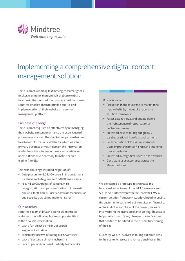 Implementing a comprehensive digital content management solution. The customer, a leading fast moving consumer goods retai...