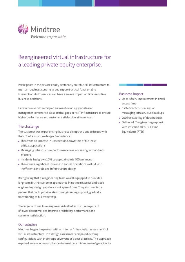 Reengineered virtual infrastructure for a leading private equity enterprise.  Participants in the private equity sector re...