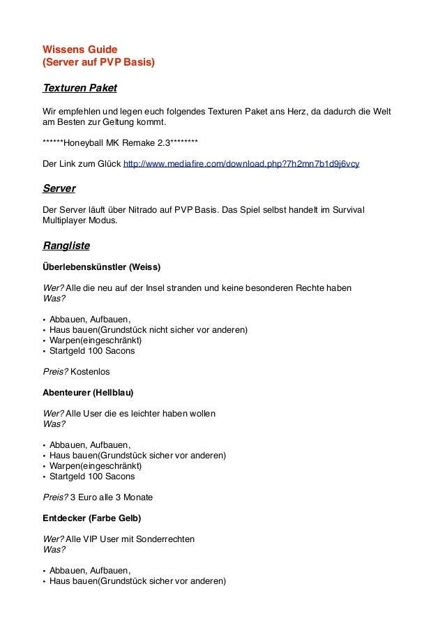 Wissens Guide(Server auf PVP Basis)Texturen PaketWir empfehlen und legen euch folgendes Texturen Paket ans Herz, da dadurc...