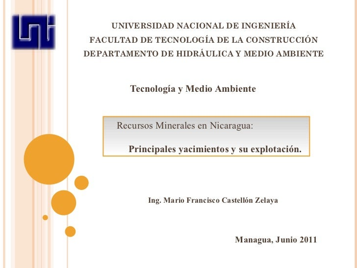 UNIVERSIDAD NACIONAL DE INGENIERÍA FACULTAD DE TECNOLOGÍA DE LA CONSTRUCCIÓN DEPARTAMENTO DE HIDRÁULICA Y MEDIO AMBIENTE T...