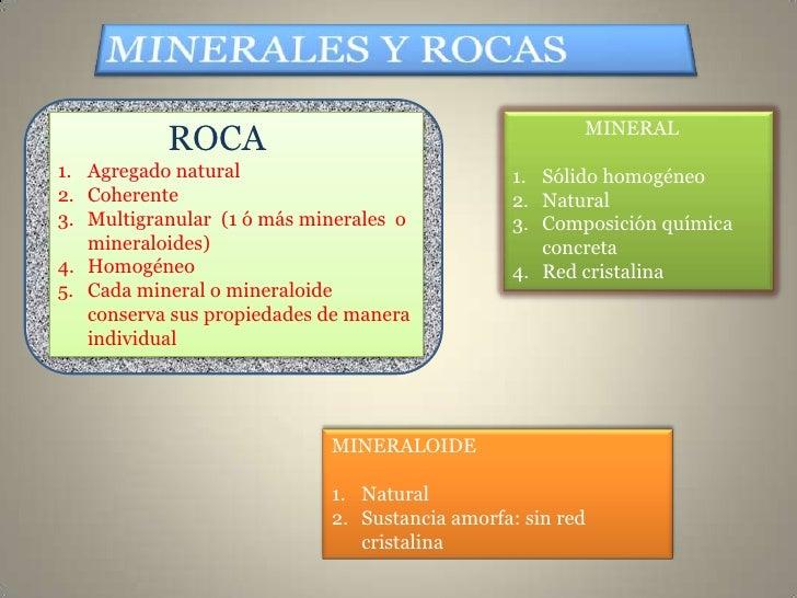 MINERAL           ROCA1. Agregado natural                            1. Sólido homogéneo2. Coherente                      ...