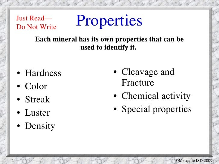 Five Chemical Properties Of Minerals
