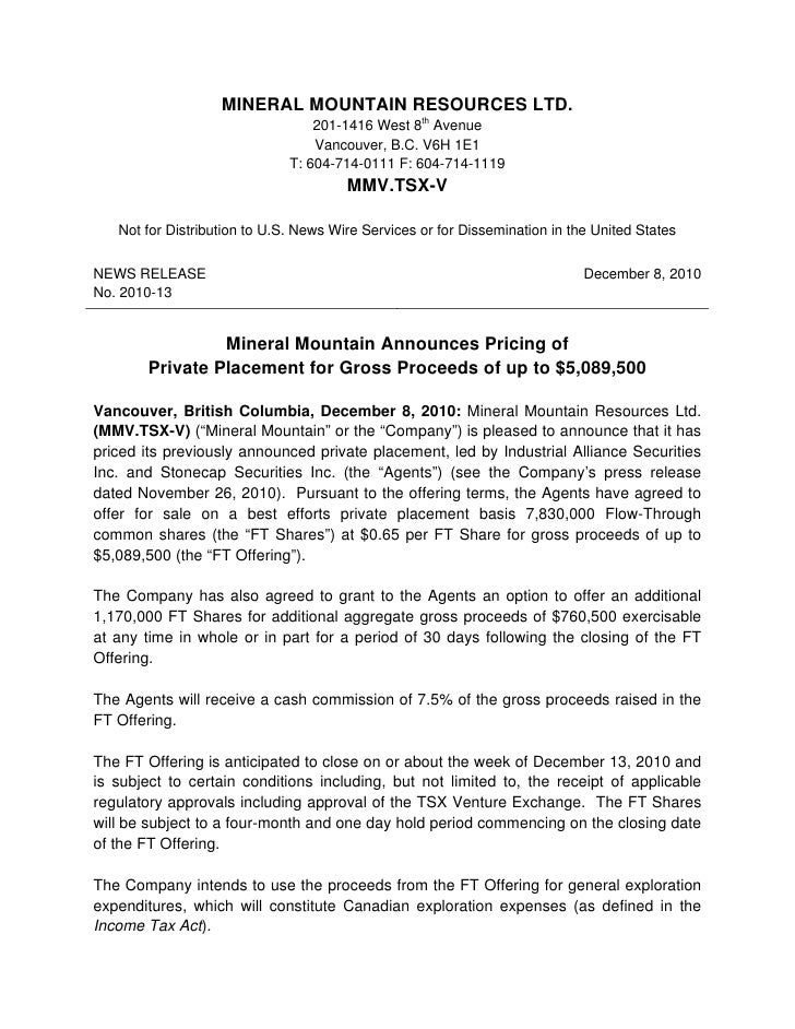 Mineral mountain announces pricing of private placement for gross proceeds of up to $5,089,500