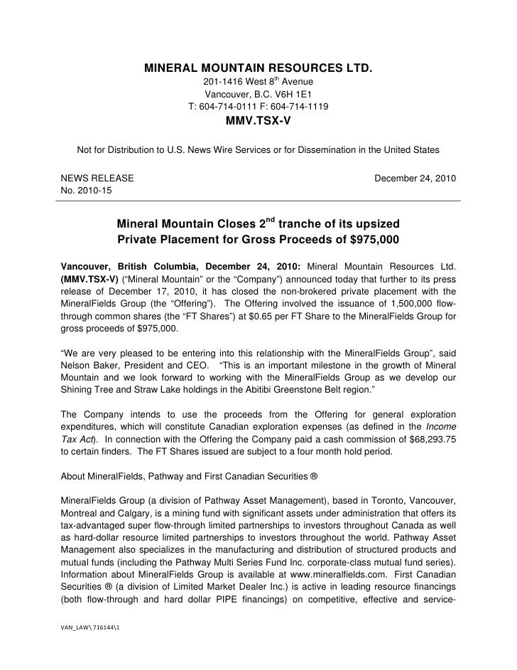 Mineral mountain closes 2nd tranche of its upsized private placement for gross proceeds of $975,000