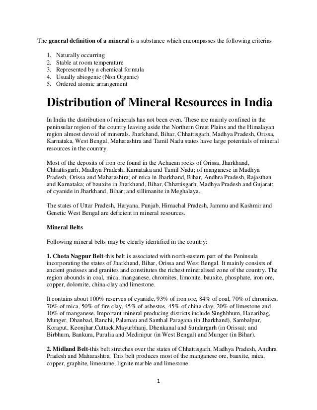 Minerals class 12