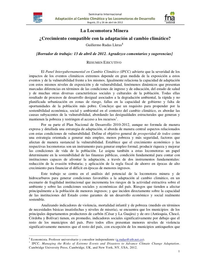 Seminario Internacional                 Adaptación al Cambio Climático y las Locomotoras de Desarrollo                    ...
