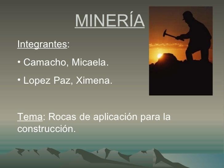 MINERÍA   <ul><li>Integrantes :  </li></ul><ul><li>Camacho, Micaela. </li></ul><ul><li>Lopez Paz, Ximena.  </li></ul><ul><...