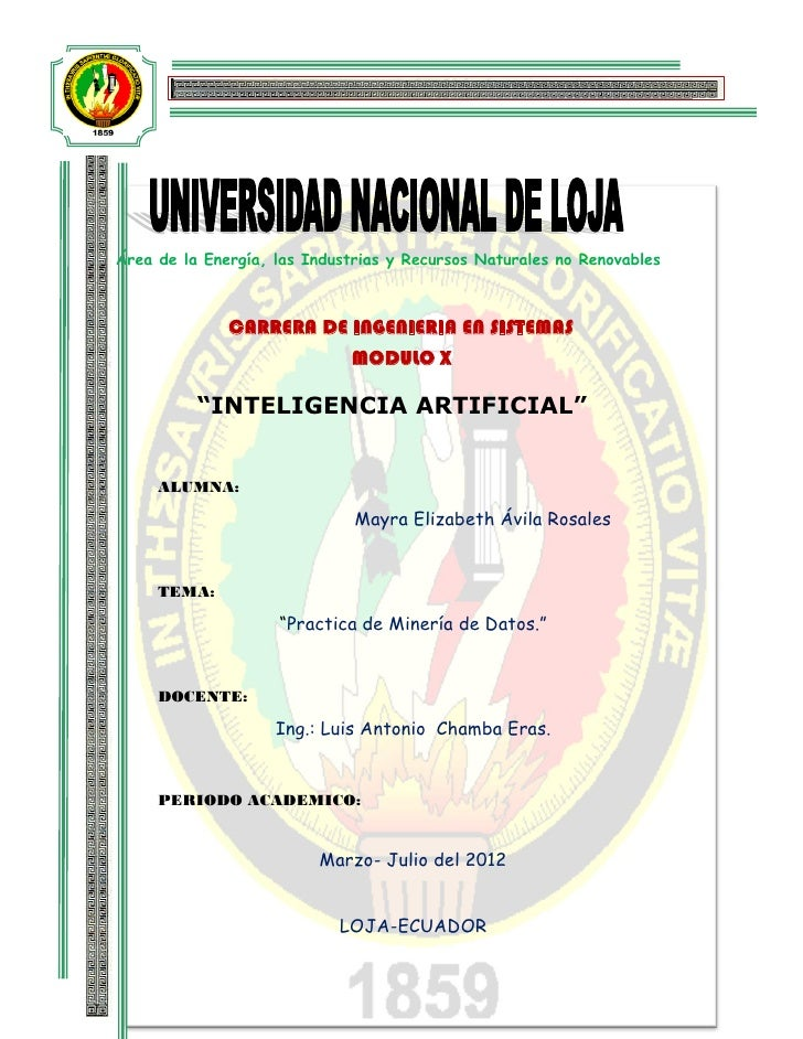 Área de la Energía, las Industrias y Recursos Naturales no Renovables              CARRERA DE INGENIERIA EN SISTEMAS      ...