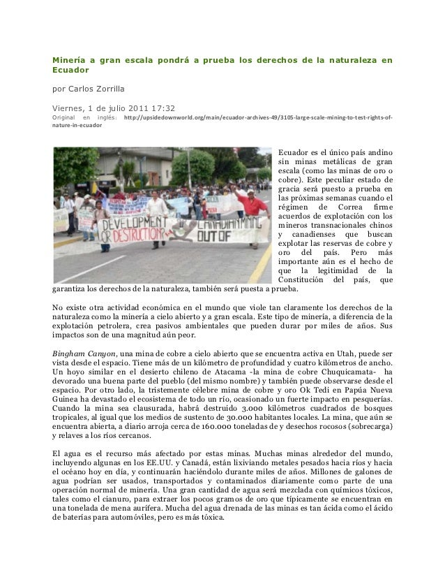 Minería a gran escala pondrá a prueba los derechos de la naturaleza enEcuadorpor Carlos ZorrillaViernes, 1 de julio 2011 1...