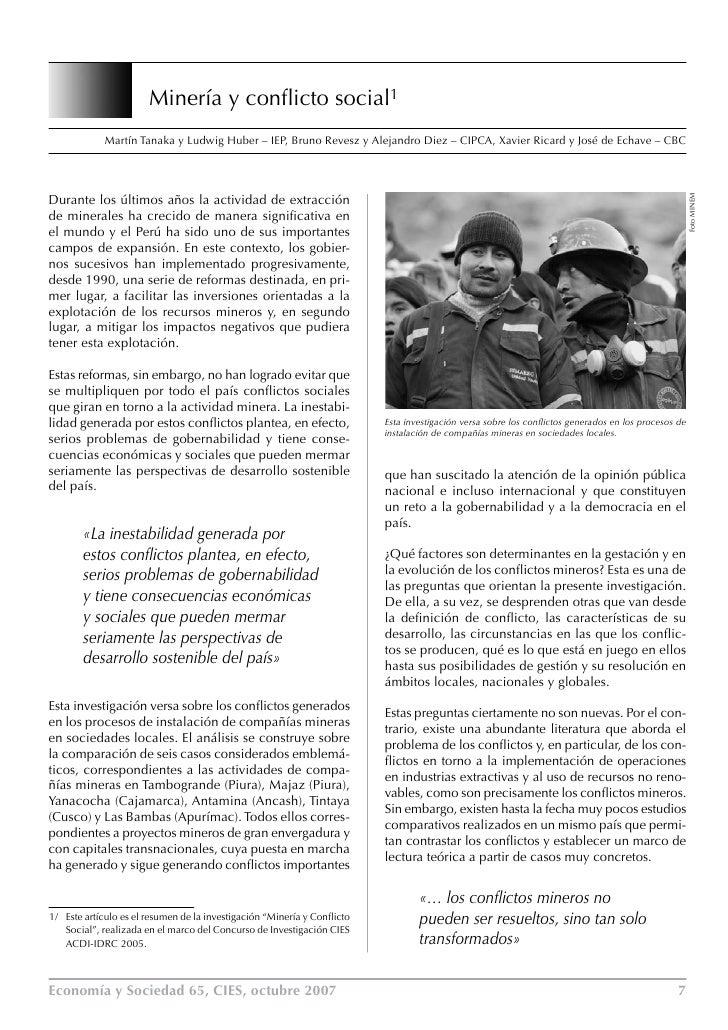 Minería y conflicto social1              Martín Tanaka y Ludwig Huber – IEP, Bruno Revesz y Alejandro Diez – CIPCA, Xavier...