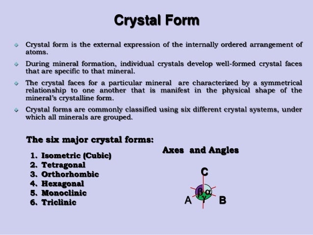 an experiment to determine how crystals are formed and their classification Have student pairs design their experiment  these crystals in their solid form explain to the students that in this experiment, they will determine the.