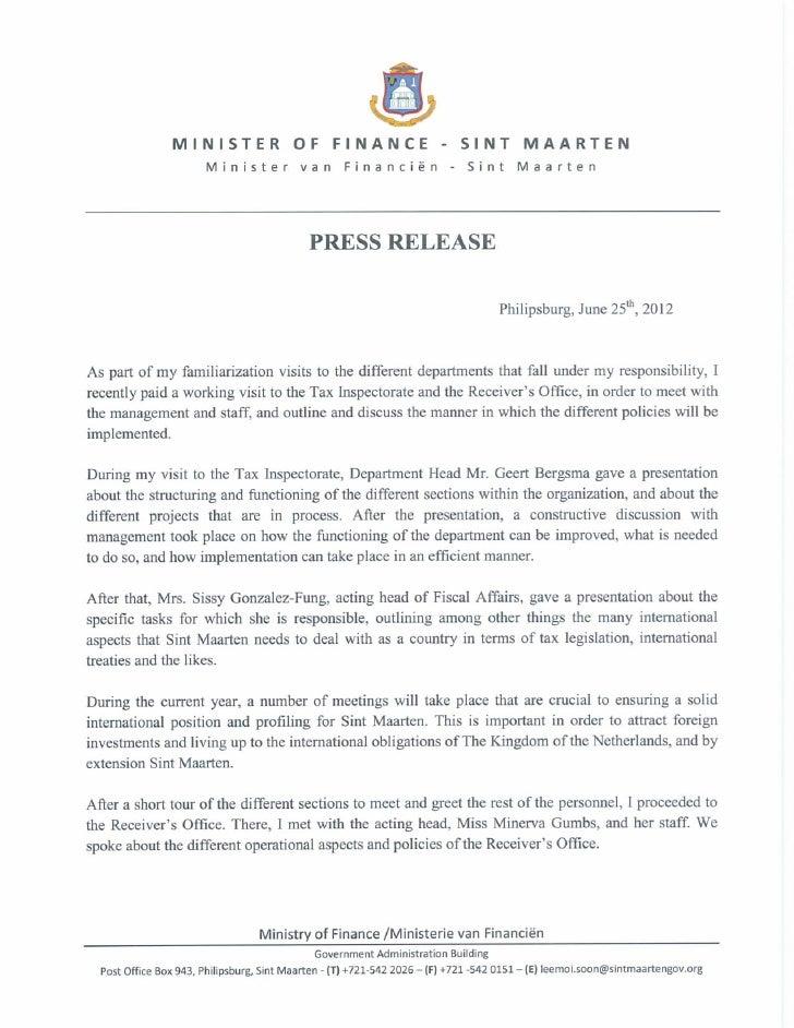Min fin press release 25 juni Minister Of Finance Visits Tax Inspectorate & Recievers Office