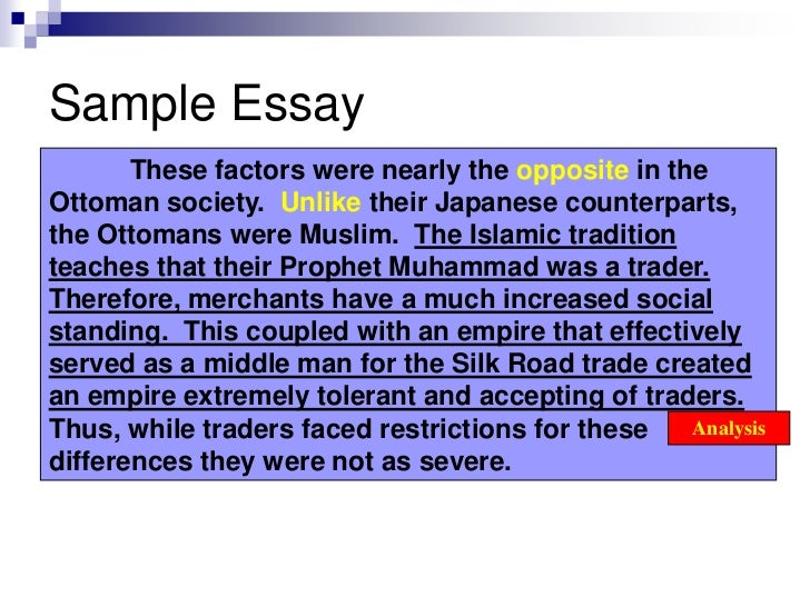 Sample of comparative essay