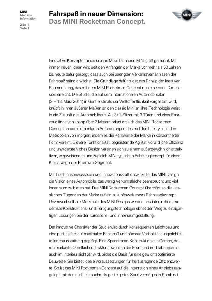 Fahrspaß in neuer Dimension:MINIMedien-information2/2011              Das MINI Rocketman Concept.Seite 1              Inno...