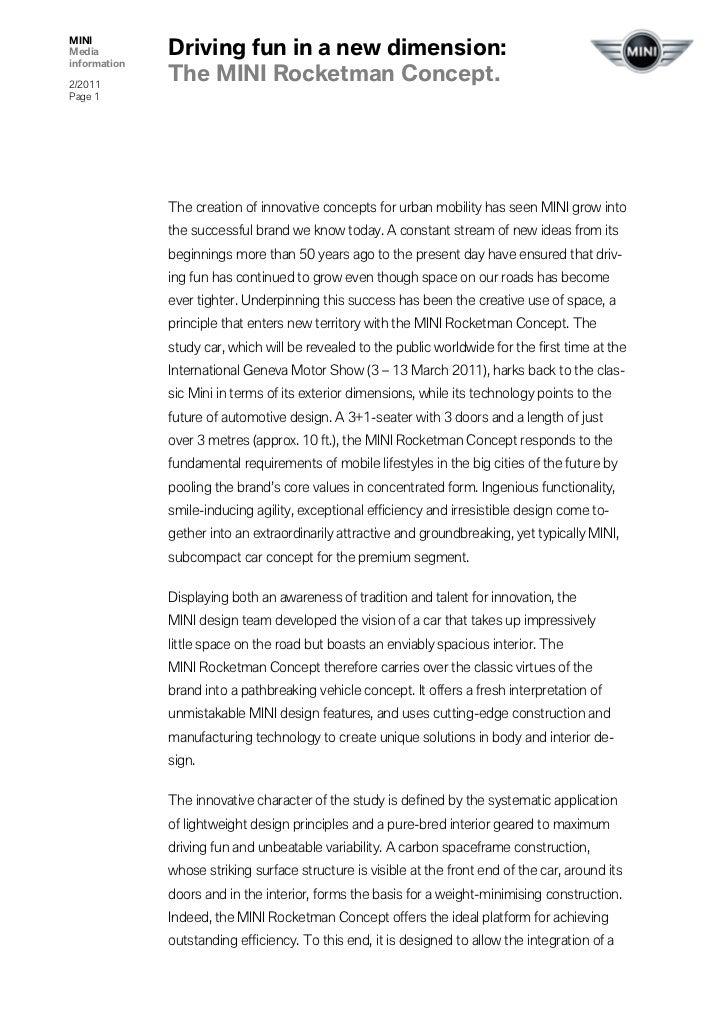 MINIMedia         Driving fun in a new dimension:information2/2011              The MINI Rocketman Concept.Page 1         ...