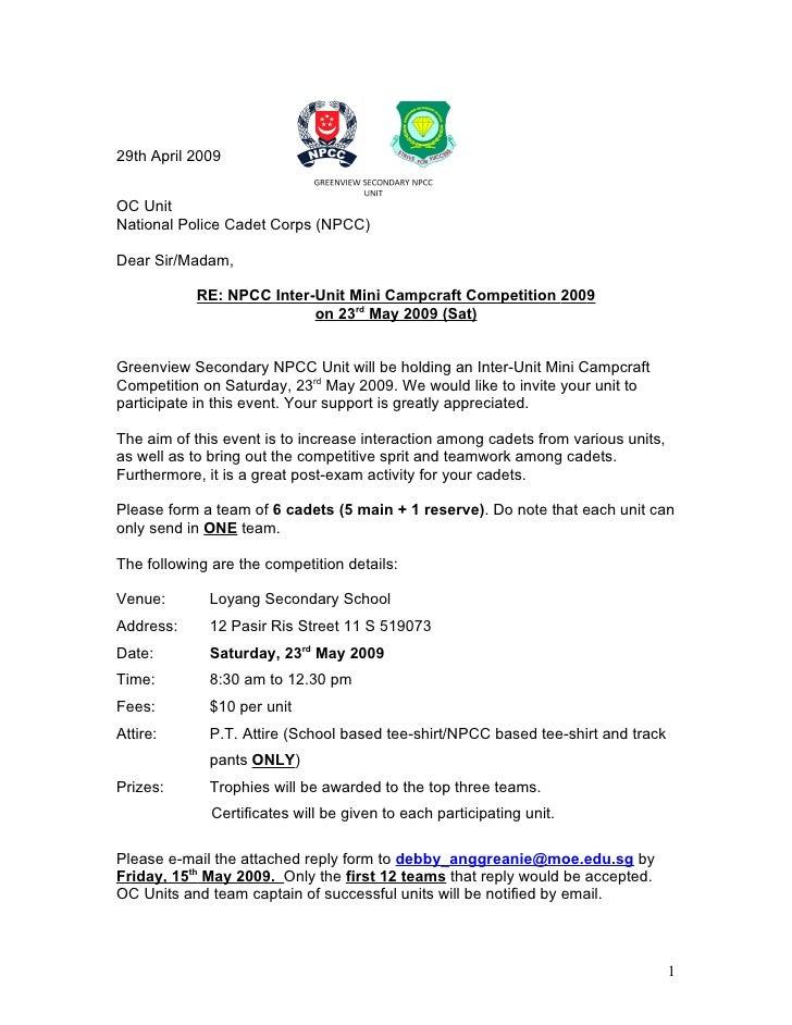 29th April 2009   OC Unit National Police Cadet Corps (NPCC)  Dear Sir/Madam,             RE: NPCC Inter-Unit Mini Campcra...
