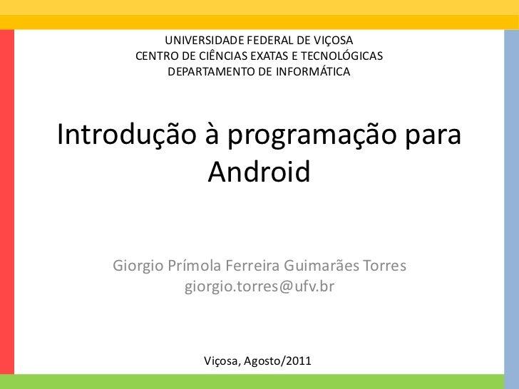 Minicurso Programação Android