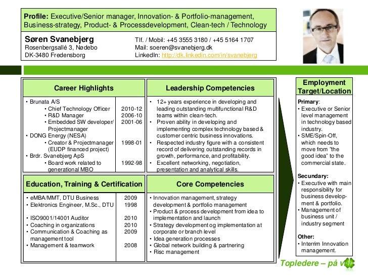 Profile: Executive/Senior manager, Innovation- & Portfolio-management,Business-strategy, Product- & Processdevelopment, Cl...