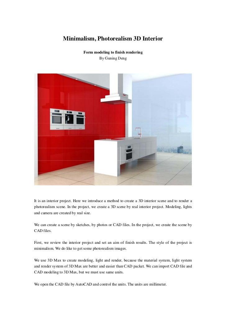 Minimalism photorealism 3d interior