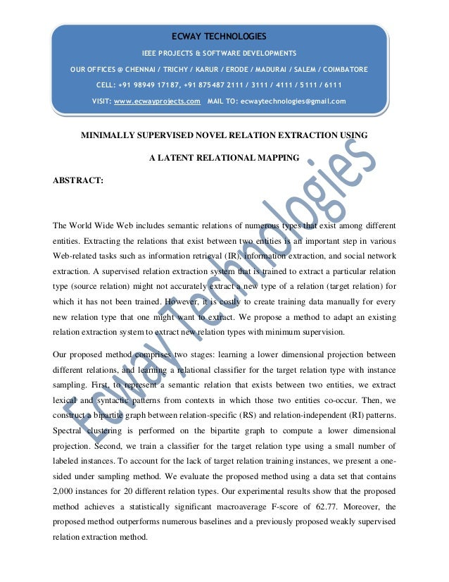 Minimally supervised novel relation extraction using a latent relational mapping