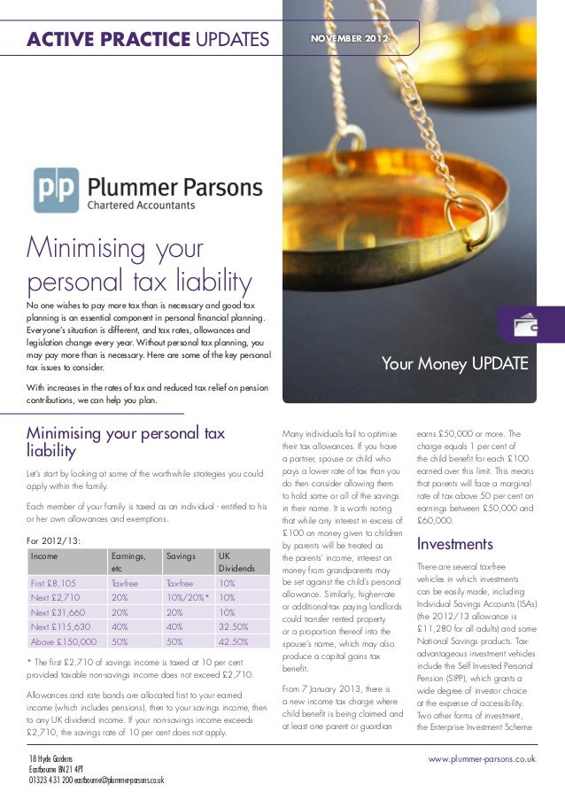 Minimising Your Personal Tax Liability - November 2012