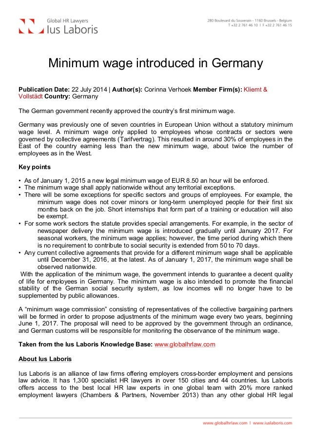 Minimum wage introduced in Germany