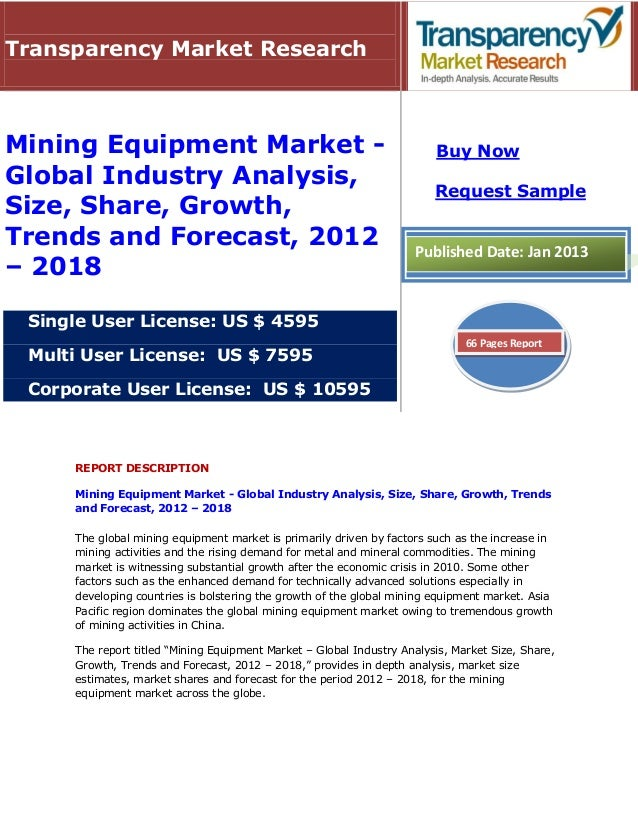 Transparency Market ResearchMining Equipment Market -                                               Buy NowGlobal Industry...