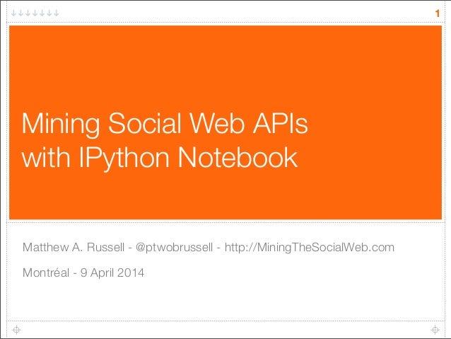 Mining Social Web APIs with IPython Notebook Matthew A. Russell - @ptwobrussell - http://MiningTheSocialWeb.com Montréal -...