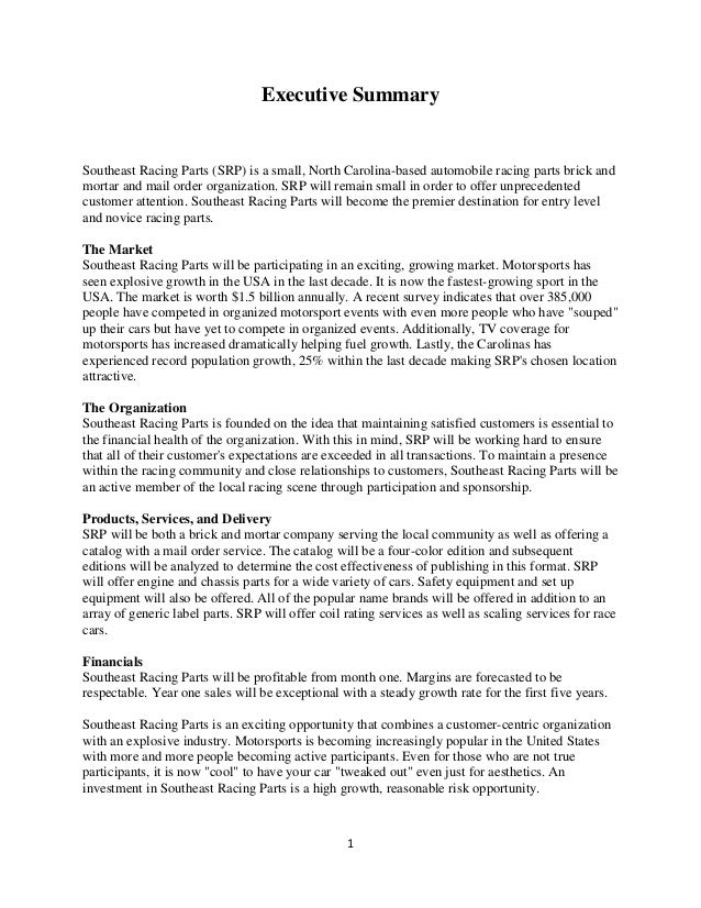 Executive SummarySoutheast Racing Parts (SRP) is a small, North Carolina-based automobile racing parts brick andmortar and...