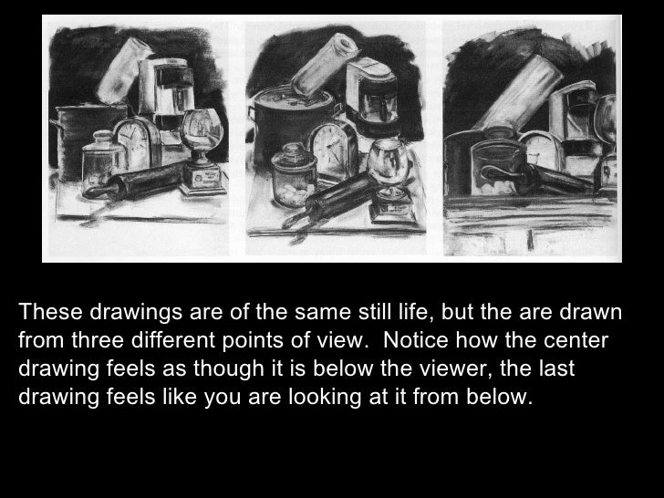 These drawings are of the same still life, but the are drawn from three different points of view.  Notice how the center d...