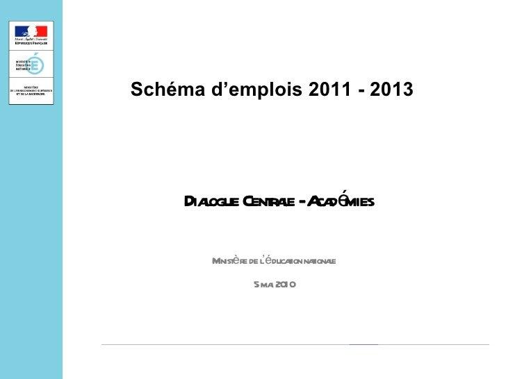 Dialogue Centrale - Académies  Minist è re de l 'é ducation nationale 5 mai 2010 Schéma d'emplois 2011 - 2013