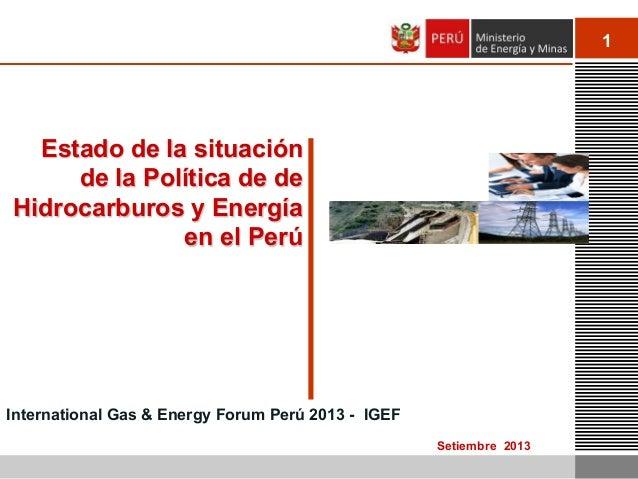 1 Setiembre 2013 Estado de la situación de la Política de de Hidrocarburos y Energía en el Perú International Gas & Energy...