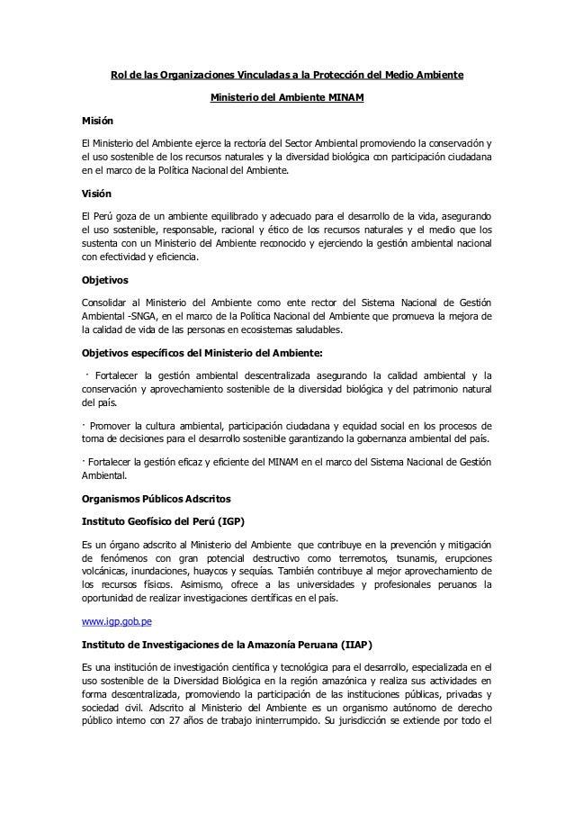 Rol de las Organizaciones Vinculadas a la Protección del Medio Ambiente                               Ministerio del Ambie...