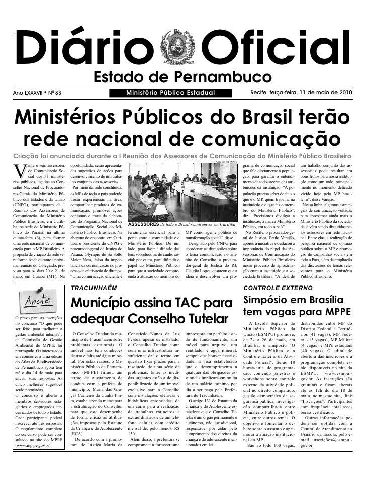 Diário Oficial                                  Estado de Pernambuco Ano LXXXVII       l   NO 83                          ...