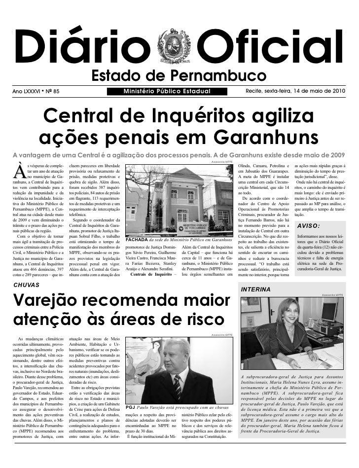 Diário Oficial                                   Estado de Pernambuco Ano LXXXVI        l   NO 85                         ...
