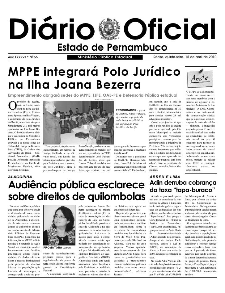 Diário Oficial                                  Estado de Pernambuco Ano LXXXVII        l   NO 66                         ...