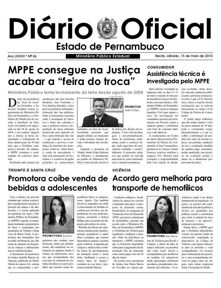 Diário Oficial                                  Estado de Pernambuco Ano LXXXVI        l   NO 86                          ...