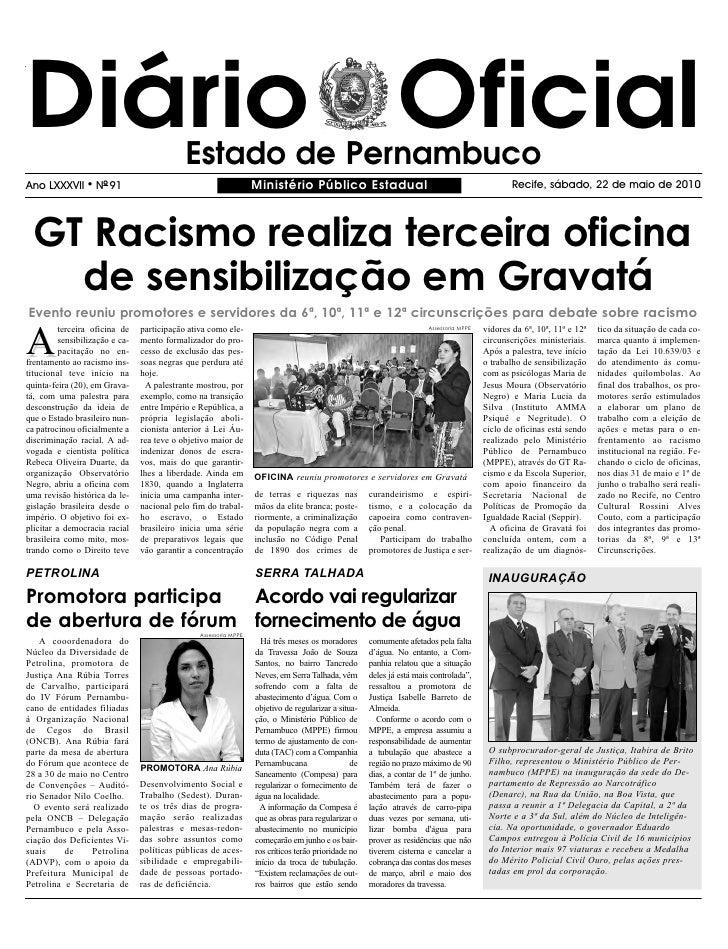 Diário Oficial                               Estado de Pernambuco Ano LXXXVII      l   NO 91                              ...