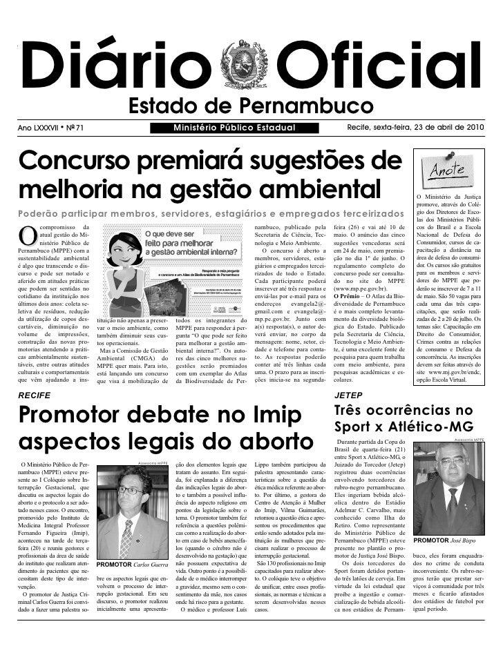Diário Oficial                                 Estado de Pernambuco Ano LXXXVII       l   NO 71                           ...