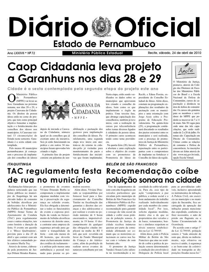 Diário Oficial                               Estado de Pernambuco Ano LXXXVII      l   NO 72                              ...