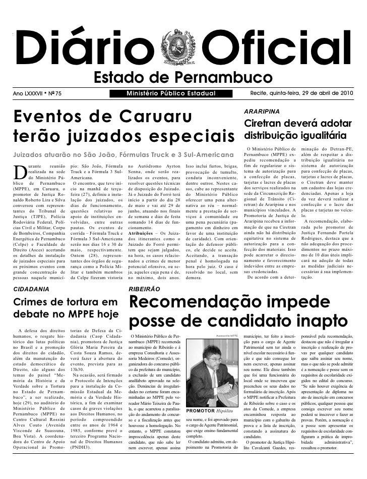 Diário Oficial                            Estado de Pernambuco Ano LXXXVII     l   NO 75                                  ...