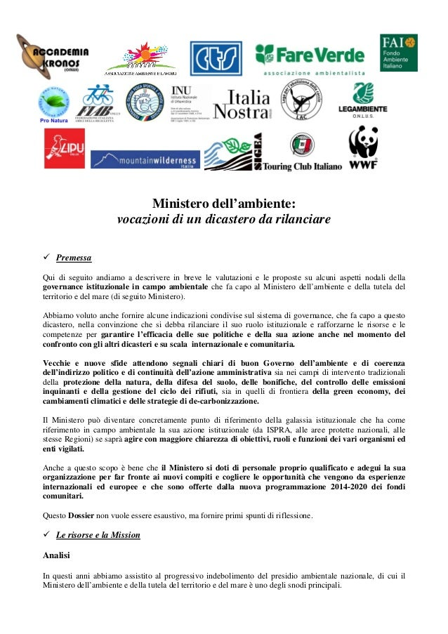Non facciamo sparire il Ministero dell'Ambiente: vocazioni di un dicastero da rilanciare