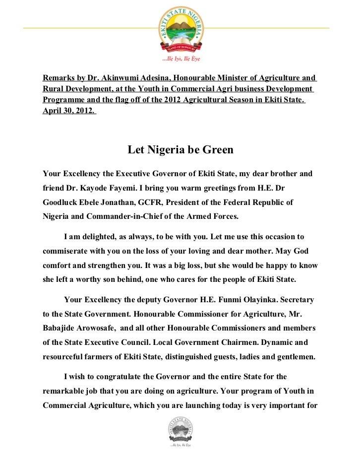 Let Nigeria be Green by Dr. Akinwumi Adesina