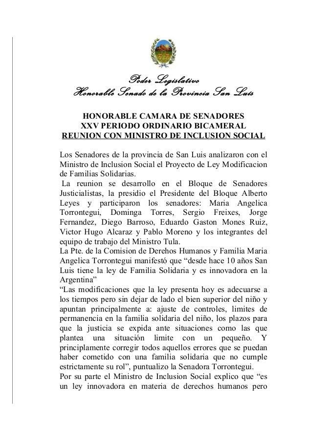 Poder LegislativoHonorable Senado de la Provincia San LuísHONORABLE CAMARA DE SENADORESXXV PERIODO ORDINARIO BICAMERALREUN...