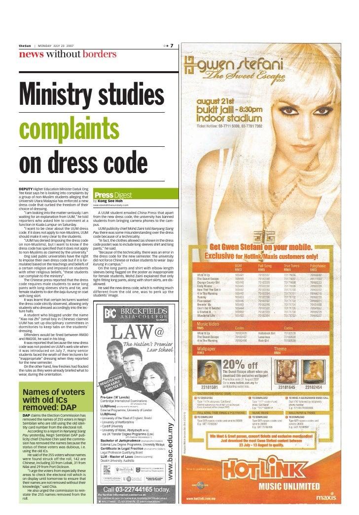 Ministry studies complaints on dress code