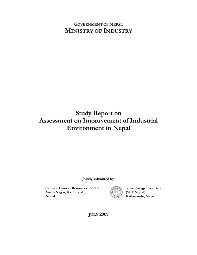 Study on assessment on improvement of industrial environment in nepal