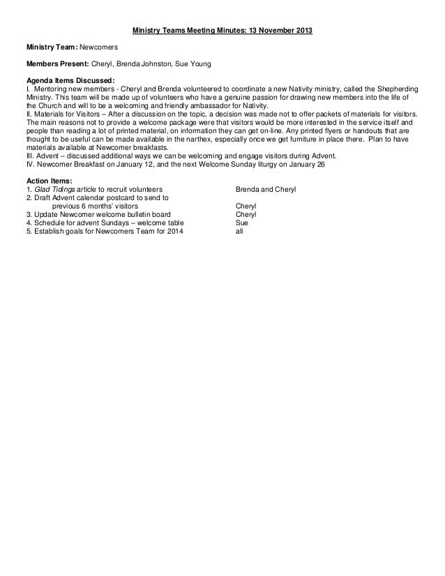 Ministry teams minutes 11-11-13