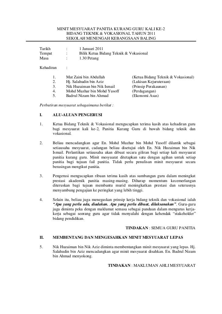 MINIT MESYUARAT PANITIA KURANG GURU KALI KE-2                  BIDANG TEKNIK & VOKASIONAL TAHUN 2011                  SEKO...