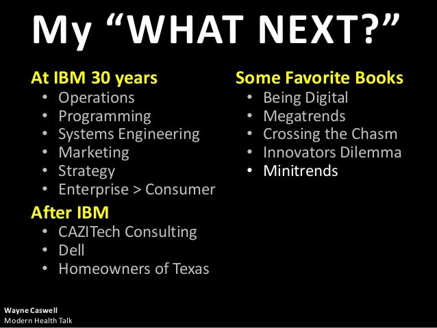 "My ""WHAT NEXT?""       At IBM 30 years                Some Favorite Books         •    Operations               •   Being D..."