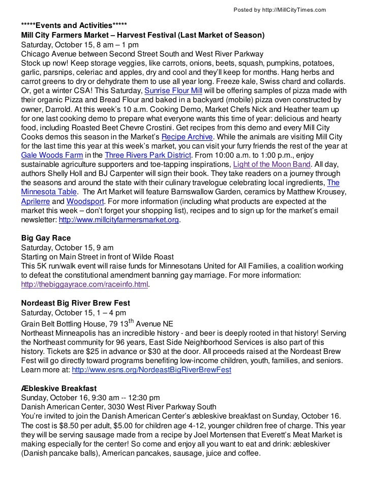 Posted by http://MillCityTimes.com*****Events and Activities*****Mill City Farmers Market – Harvest Festival (Last Market ...
